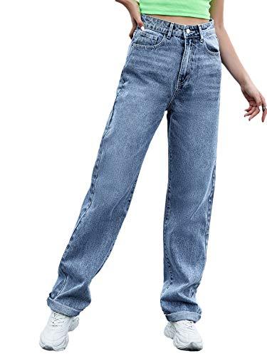 SweatyRocks Women's Casual Boyfriend Jeans High Rise Denim Pants with Pocket Blue M