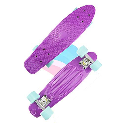 Yany 22 Zoll Komplettes Skateboard Plastik Mini Cruiser Retro Longboards Skateboard für Erwachsene Anfänger Mädchen Jungen,Lila