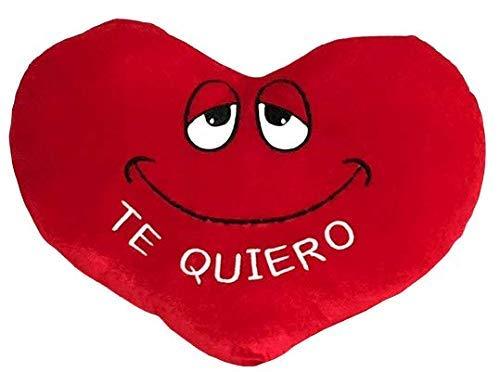 ML cojin Corazon con ojitos y Frase de Amor TE Quiero Color Rojo de 38cm Ancho Color Rojo