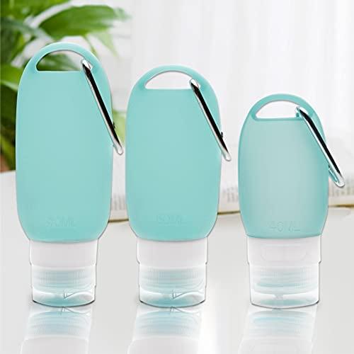 Sunydog 3PCS Botellas de Viaje con mosquetón para Colgar Recipientes vacíos Recargables portátiles de Silicona Suave para de Manos Champú Tapa abatible Trabajo Escolar al Aire Libre