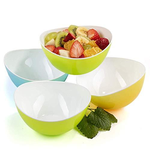 Bols à Céréales Bols petit Déjeuner Individuel Plastique Snack Popcorn Soupe Dessert 0,48L - Lot de 4