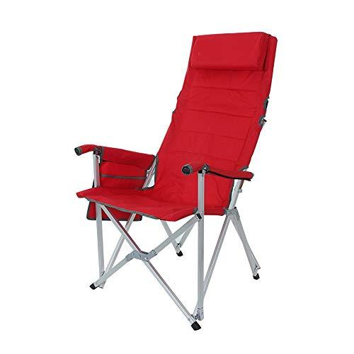 YANGYUAN Silla Plegable Portable al Aire Libre Pesca Oxford Silla de Aluminio del Respaldo Pesca Silla Multifuncional Almuerzo reclinable (Color : Red)