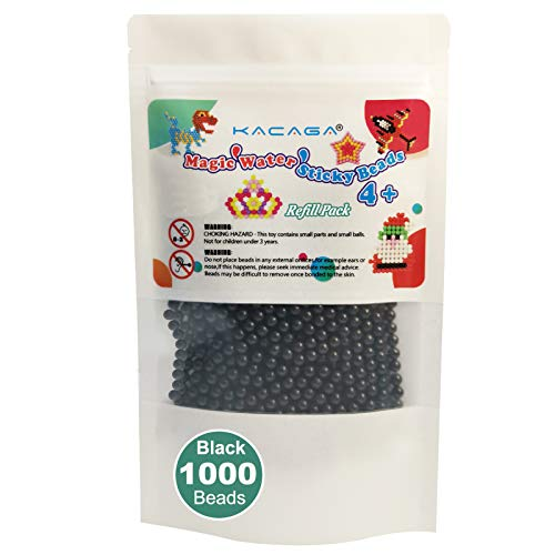 KACAGA Water Fuse Beads 1000 Beads, Refill Pack Compatible Beados Magic Water Sticky Beads Art Crafts Toys for Kids Beginners (Black)