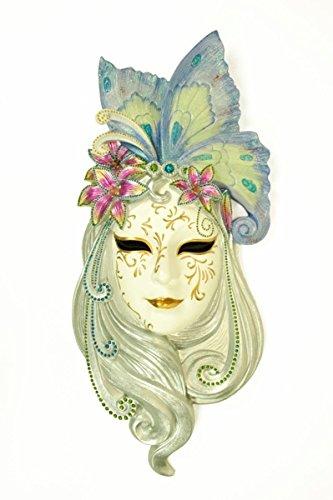 CAPRILO Adorno Pared Decorativo Máscara Veneciana Lirio Color Figuras Resina. 21 x 52 x 7 cm