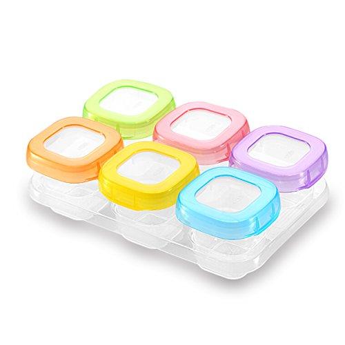 SONARIN Recipientes para comida de bebé sin BPA, contenedor de almacenamiento de suplemento de alimentos para bebés, refrigerar y microondas,100% a prueba de fugas(6 x 60 ml)