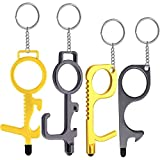 Contactless Door Opener Tool, Hands Free EDC Ergonomic Keychain Hook No Touch Key Safety Tool with Key Ring and Stylus Tip for Public Door Handle Closer Touchscreen Button Signature Mobile (4 Pack)