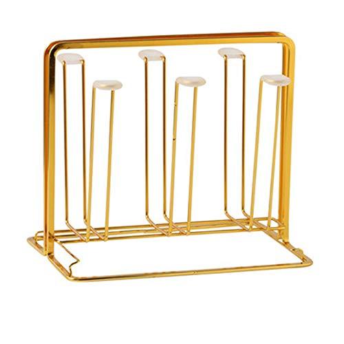 6 metalen glazen beker drogen houder, rek beugel Home keuken woonkamer fles opknoping Type afdruiprek omgekeerde drinkglas opslag, gouden