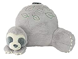 Soft Landing Trendy Sloth Reading Cushion, Lightweight & Portable Sloth Bed Rest Pillow, Perfect Ages 2 and, One Size, Grey