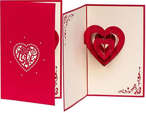 PrimePopUp | Liebeskarte | LOVE Herz rot | romantische 3D Pop Up Karte | besondere Hochzeitskarte | Geschenk für Freundin Freund | Geburtstagskarte | Ich liebe Dich Karte für Sie & Ihn