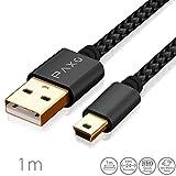 Câble USB Mini en Nylon de 1m Noir, câble de Chargement Mini USB, câble de données, Prise d'or, Manteau tressé de Haute qualité, avec Pince pour câble, 1 mètres