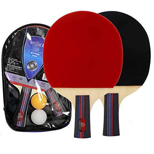 Profesional Raqueta de Tenis de Mesa, Tenis de Mesa 2 Jugadores Set 2 Raquetas de Tenis de Mesa y Dos Pelotas de Ping-Pong con Estuche Protector