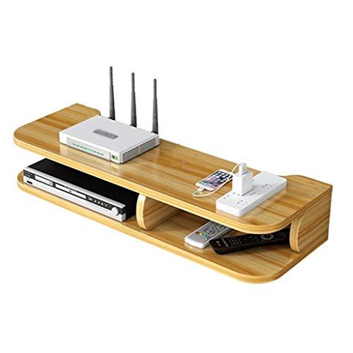 Estantería flotante multifunción para TV, sin perforaciones, apta para el hogar y la oficina, fácil de instalar, caja de almacenamiento decorativa creativa (color marrón, tamaño: 57 x 19,5 x 10 cm)