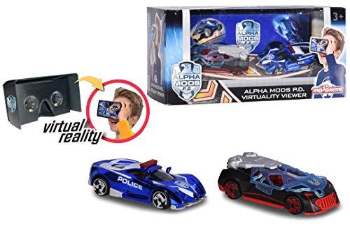 Majorette 212058502 - Alpha Mods P.D. Virtuality Viewer + 2 Cars, Set: 3D-VR-Brille mit Die-Cast-Fahrzeugen