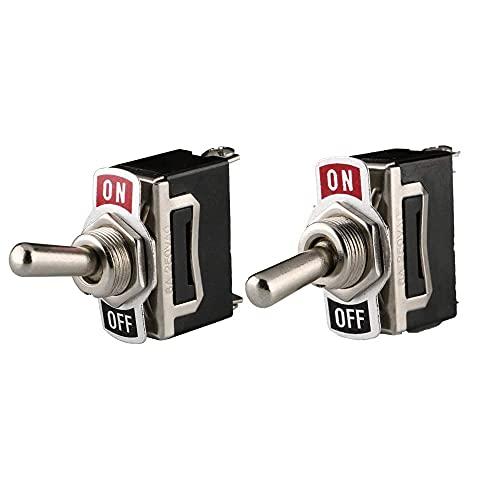 6 Piezas SPST Conmutador de Palanca, Interruptor Basculante de Metal, ON/Off 2 Posiciones 2 Pin, 12V-24V/15A, para Auto Vehiculo Barco