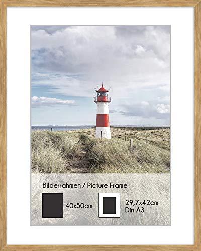 artissimo, PE6599-WR, Bilder-Rahmen 40x50cm mit Passepartout, Wechselrahmen für Poster Din A3, Holz, Echtholz-Rahmen inkl. Passepartout und Kunstglas, Außenmaß ca. 42x52cm, Farbe Eiche Oak