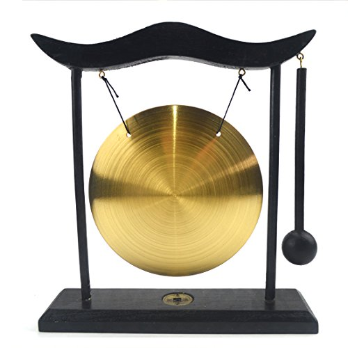 Feng Shui Brass Gong Desktop Zen Art for Fortune + Free Red String Bracelet H1301