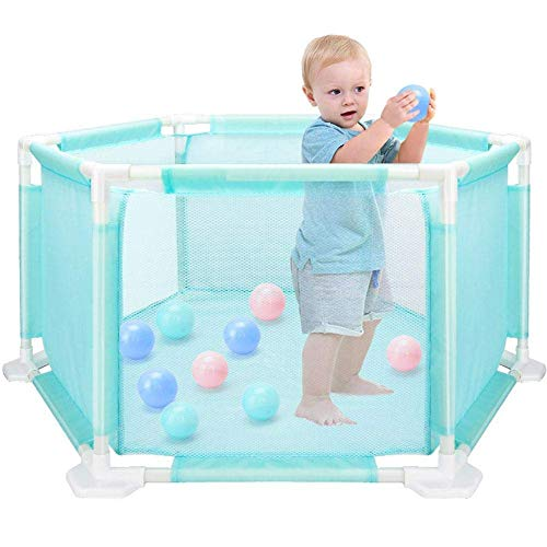 Baby Playpen Safety Hexagon Mesh Children Kid Fence Foldable Divider Educational Toy Beginner Palymats Room Easy Install with 10 Balls /18 Poles/Sided/Babies/Toddler/Newborn Safe Crawling