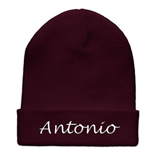 printplanet Beanie-Mütze mit Namen Antonio Bestickt - Farbe Burgundy - personalisierte Mütze, Strickmütze, Namensstickerei