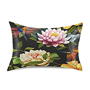 Satin Pillowcase Bedside Pillow Cases Silk Pillowcasecushion Throw Pillows Water Lily Lotus Flowers Roses Dragonfly Luxury Soft Pillow Covers Protectors Home Decorative With Envelope Opening For Adult