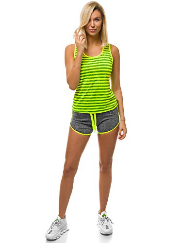 OZONEE Damen Jogginganzug 2-Teilig Set Trainingsanzug Sportanzug Freizeitanzug Sport Anzug Tracksuit Tank Top Shorts Sportshorts Tanktop Sporthose Kurz Laufshorts 777/2081DR GELB-NEON XL