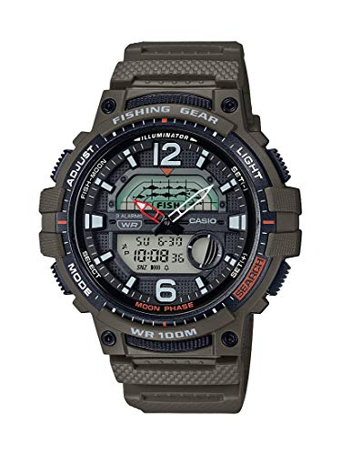 Casio Men's Fishing Timer Quartz Watch with Resin Strap, Green, 24.1 (Model: WSC-1250H-3AVCF)