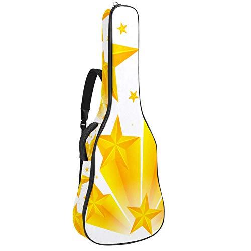 Bennigiry Bolsa de guitarra con diseño de estrellas amarillas sobre fondo blanco para guitarrista