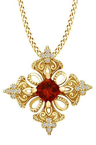 AFFY Princess Simulated Garnet & Spakling White Cubic Zirconia Irish Celtic Cross Pendant Necklace 14k Yellow Gold Over Sterling Silver with 18' Chain
