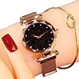 Acnos Black Round Diamond Dial with Latest Generation Rosegold Magnet Belt Analogue Watch