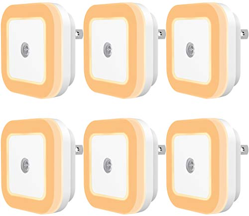 Sycees Plug-in LED Night Light with Dusk-to-Dawn Sensor for Bedroom, Bathroom, Kitchen, Hallway, Stairs, Warm White, 6-Pack