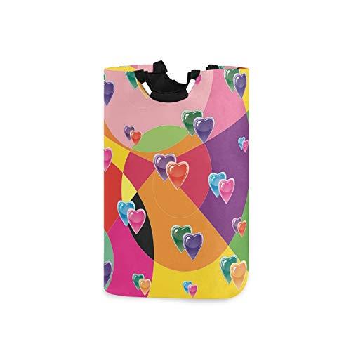 RunningBear Cesta de lavandería para lavar la ropa, cesta de papel de regalo en forma de corazón, cesta plegable de gran capacidad para baño, lavandería