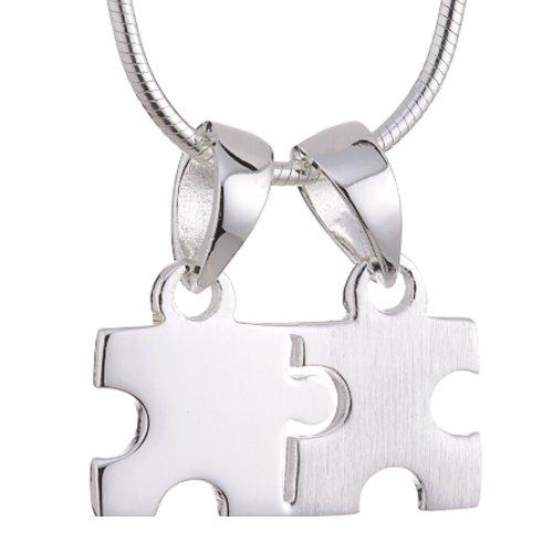 VNOX 2 Piezas de Acero Inoxidable corazón Puzzel Pareja de Amor Pareja Collar para la Promesa de Compromiso, de Oro de Plata
