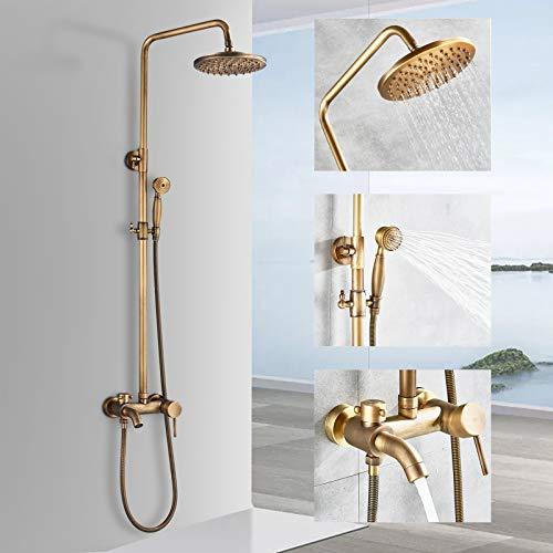 Rozin Sistema de ducha retro con alcachofa de mano, bañera, caño antiguo, sistema de ducha de latón, altura ajustable, 80 ~ 120 cm