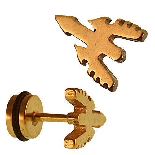 Chic-Net Piercing falso dilatador dorado con diseño de flecha con alas y cierre de acero inoxidable