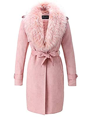 Bellivera Women's Faux Suede Long Jacket?Lapel Outwear Trench Coat Cardigan with Detachable Faux Fur Collar Pink Large