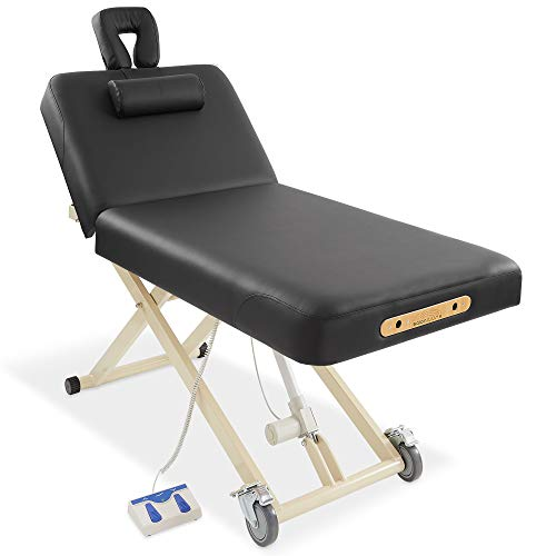 Saloniture Professional Electric Lift Massage Table with Adjustable Backrest - Includes Headrest, Face Cradle and Bolster - Black