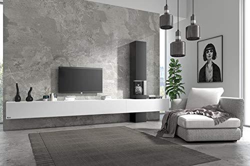Wuun® Somero Vitrine /360cm/ Weiß-Matt TV Boards/Vitrine Schwarz-Matt Wohnwand/Tv Board/Lowboard