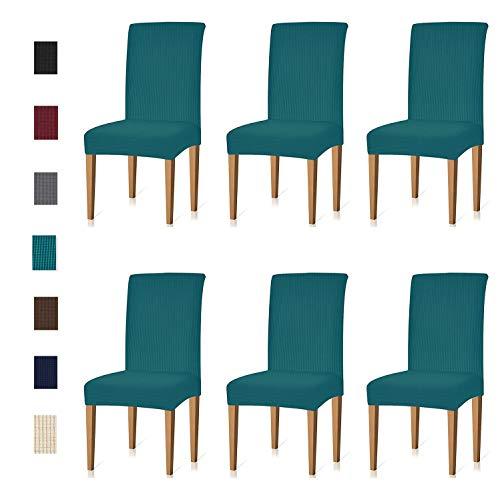 KELUINA Jacquard Esszimmer Stuhl Schonbezüge Sets Stretch Möbel Schutzhüllen für Sessel Abnehmbare Waschbar Elastische Parsons Sitz Fall für Restaurant Hotel Zeremonie (Türkis,6pcs/45x45x60cm)