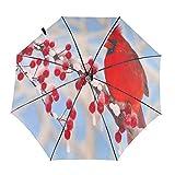 DXZ-Design Paraguas plegable de viaje compacto sol lluvia a prueba de viento niños mujeres hombres rojo pájaro cardenal en árbol de bayas