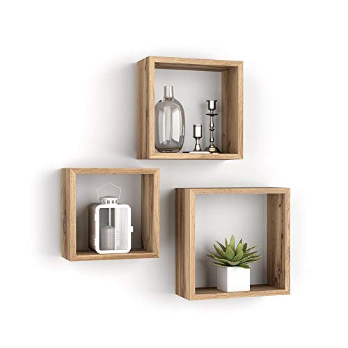 Mobili Fiver, Set de 3 estantes de Pared Cuadrados, Giuditta, Madera Rustica, Aglomerado y Melamina, Made in Italy