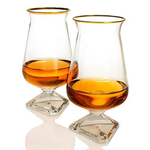 Whiskey Glass Set – Irish Tuath Glasses – Celtic Whiskey Glasses - Glass Set for Whiskey Tasting – Gold Rimmed Edition