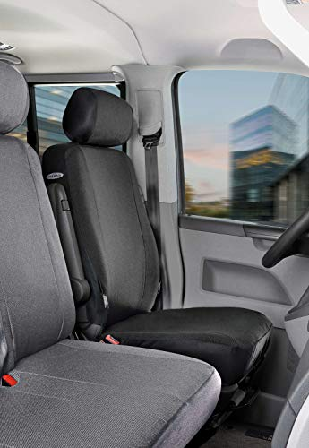 Walser Autoschonbezüge Transporter Passform, Sitzbezug anthrazit kompatibel mit VW T6 (Polyester, Einzelsitz vorne)