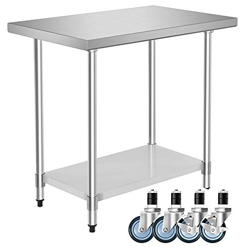 "36"" x 24"" NSF Stainless Steel Food Prep Table with Casters, Heavy Duty Commercial Kitchen Food Prep Table & Work Table, by WATERJOY"