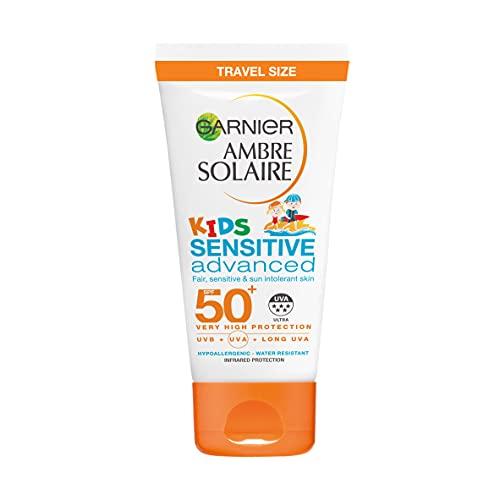 Garnier Ambre Solaire Kids Sensitive Sand Resistant Travel Sun Cream SPF50+, High Sun Protection Kids Suncream Lotion SPF50+ Handy Travel Size 50 ml