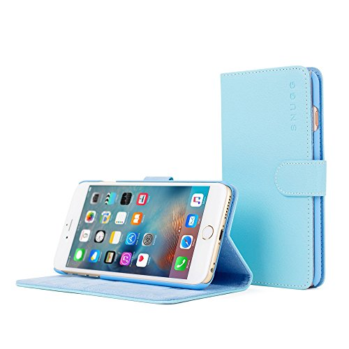 iPhone 6 Plus and 6S Plus Case, Snugg Baby Blue Leather Flip Case [Card Slots] Executive Apple iPhone 6 Plus and 6S Plus Wallet Case Cover and Stand - Legacy Series
