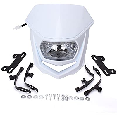 FXCNC Motorcycle Headlight LED 12V 35W H4 Universal Fits All Dual Sport Motorcycles, Dirt Bikes, Street Fiighter, Naked Motorcycles