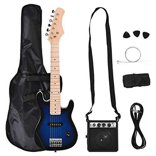 Guitarra eléctrica con amplificador, estuche, púas, cuerdas de repuesto, cable negro azul
