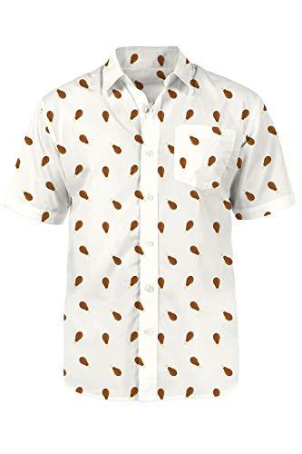 Tipsy Elves Men's Drumstick Button Down - Funny Turkey Day Aloha Shirt Size Medium