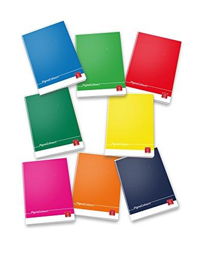 Pigna Colours 02298860C, Quaderno formato A4, Rigatura 0C, righe per 4° e 5° elementare, Carta 80g/mq, Pacco da 10 Pezzi