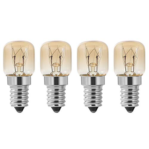 Fauge Ampoule de Four, Four 4 PièCes SéRies E14 15W, Ampoule de Four, Lampe de Four PygméE à Capuchon SES Transparent Pac, RéSistance E14 Jusqu'à 300 Celsius pour Four