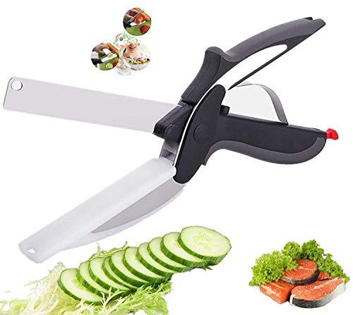 Tijeras de comida 6 en 1, tijeras de cocina, cortador inteligente de acero inoxidable con tabla de cortar integrada para verduras, frutas, tijeras de alimentos, cortador de verduras